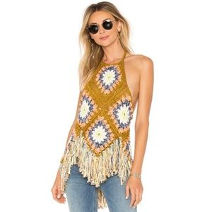 Free People Crochet Fringe Granny Patch Halter